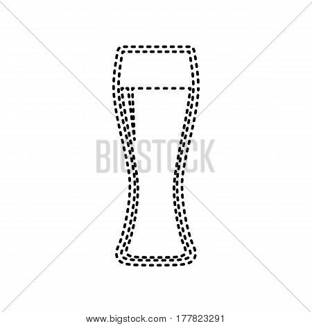 Beer glass sign. Vector. Black dashed icon on white background. Isolated.