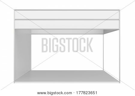 EmptyTrade show booth.. 3d rendering isolated on white background