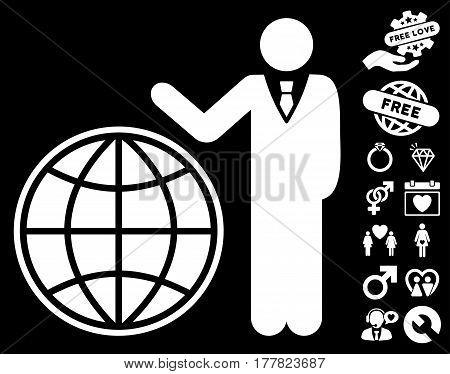 Planetary Manager pictograph with bonus love icon set. Vector illustration style is flat iconic white symbols on black background.