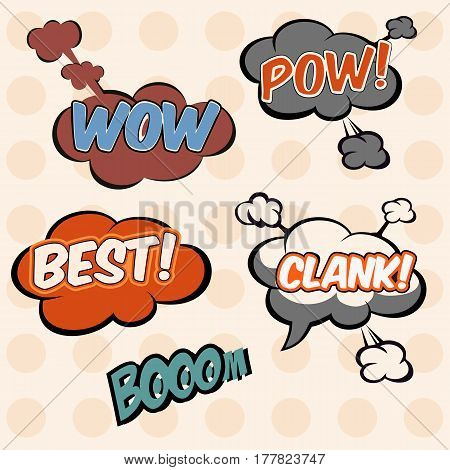 Illustration, Collection Cloud-speech In Pop-art Style Elements Of Design Comic Books