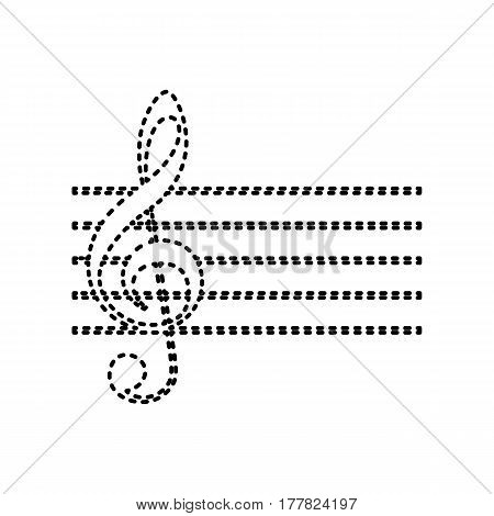 Music violin clef sign. G-clef. Vector. Black dashed icon on white background. Isolated.