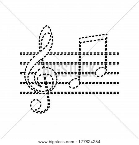 Music violin clef sign. G-clef and notes G, H. Vector. Black dashed icon on white background. Isolated.