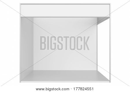 Trade exhibition stand and blank roll banner 3d rendering isolated template for design