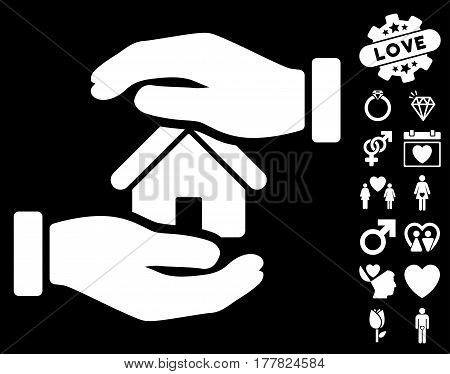 Realty Insurance pictograph with bonus passion pictograms. Vector illustration style is flat iconic white symbols on black background.