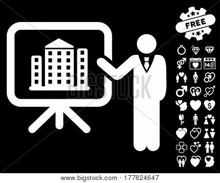 Realty Presention icon with bonus decorative pictograms. Vector illustration style is flat iconic white symbols on black background.
