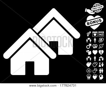 Realty icon with bonus decorative design elements. Vector illustration style is flat iconic white symbols on black background.