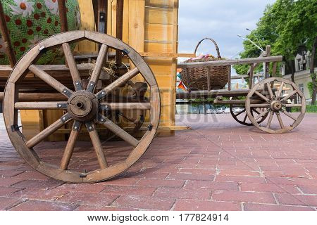Ancient carts on the town square during the city fair. Kiev Ukraine