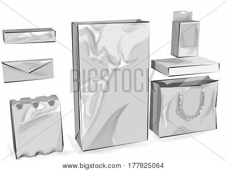 Packaging set of package isolated on white