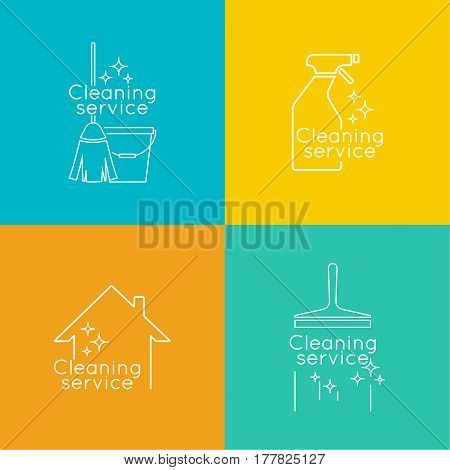 Set Logo cleaning service with broom and bucket plunge, spray bottle, scraper for washing windows. Linear icon. Thin line. The concept of home cleaning and cleanliness. cleaning service.
