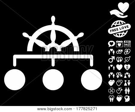 Rule pictograph with bonus love graphic icons. Vector illustration style is flat iconic white symbols on black background.