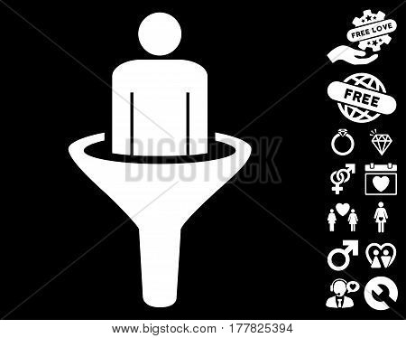 Sales Funnel icon with bonus amour icon set. Vector illustration style is flat iconic white symbols on black background.