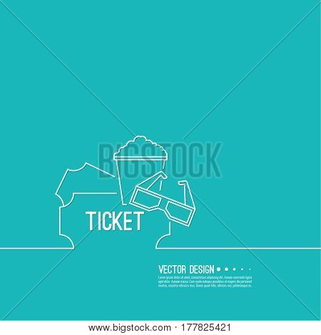 Abstract background with popcorn, 3D glasses and  tickets. The concept of a cinema and watching a movie. Layout, flyer, poster for announcement. thin line.