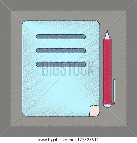 flat shading style icon of notebook and pen
