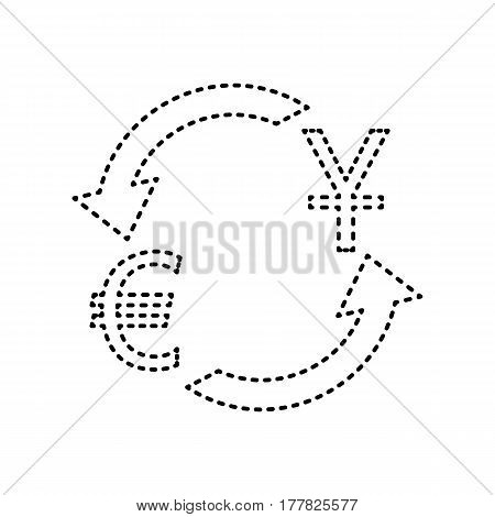 Currency exchange sign. Dollar and Euro. Vector. Black dashed icon on white background. Isolated.