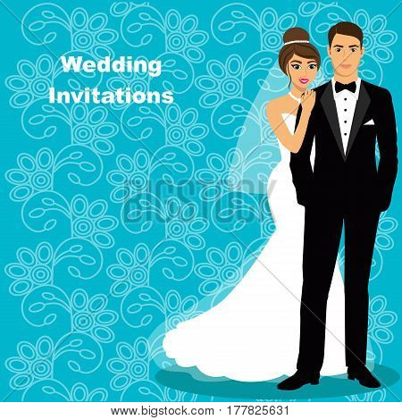 Bride and groom. Wedding card with the newlyweds on the background with ornament. Wedding invitation. Vector illustration.