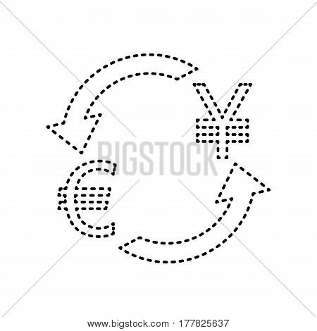 Currency exchange sign. Euro and Japan Yen. Vector. Black dashed icon on white background. Isolated.