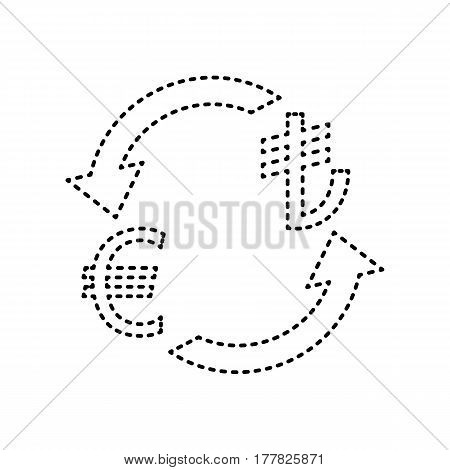 Currency exchange sign. Euro and Turkey Lira. Vector. Black dashed icon on white background. Isolated.