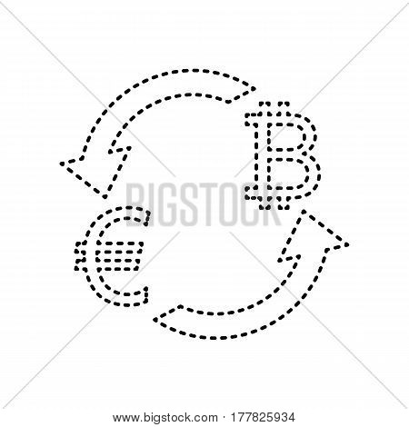 Currency exchange sign. Euro and Bitkoin. Vector. Black dashed icon on white background. Isolated.