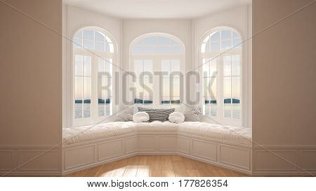 Big Window With Sea Panorama, Minimalist Empty Space, Background Classic Interior Design