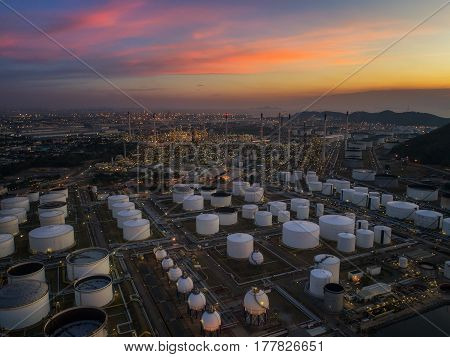 Oil refinery and oil tank and chemical plant from air bird eye view Factory industrial and Energy concept