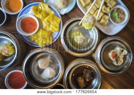 Dimsum in morning time in chinese restaurant in Hongkong