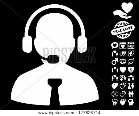 Support Chat pictograph with bonus dating pictograph collection. Vector illustration style is flat iconic white symbols on black background.