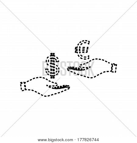 Currency exchange from hand to hand. Dollar adn Euro. Vector. Black dashed icon on white background. Isolated.