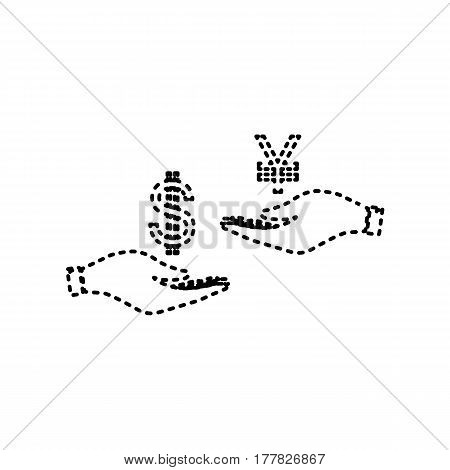 Currency exchange from hand to hand. Dollar and Yen. Vector. Black dashed icon on white background. Isolated.