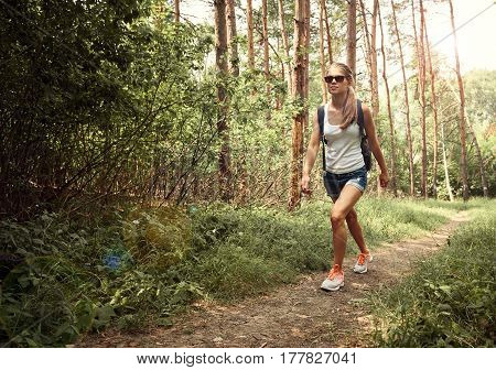 Active female globetrotter walking in the wood on summer day. Woman backpacker traveling on the nature.