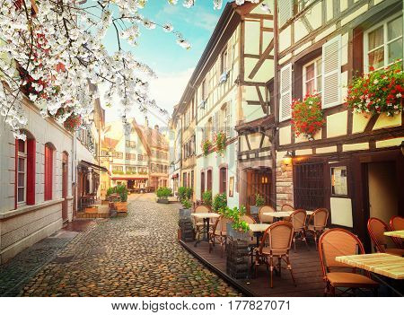 street of Petit France medieval district of Strasbourg at spring, Alsace France