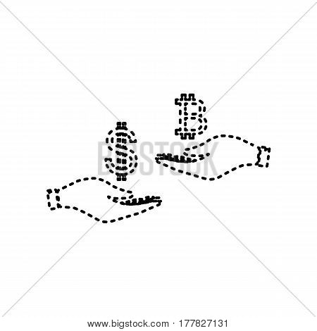 Currency exchange from hand to hand. Dollar and Bitcoin. Vector. Black dashed icon on white background. Isolated.