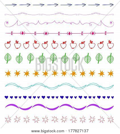 Set of multicolor hand-drawn vintage design elements isolated on white.