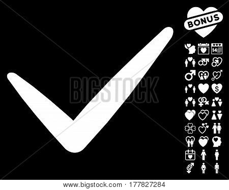 Valid icon with bonus valentine pictograph collection. Vector illustration style is flat iconic white symbols on black background.