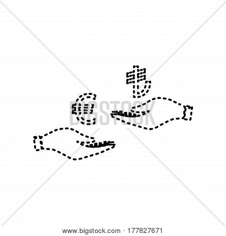 Currency exchange from hand to hand. Euro and Lira. Vector. Black dashed icon on white background. Isolated.