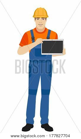 Builder showing blank digital tablet PC. Full length portrait of builder in a flat style. Vector illustration.
