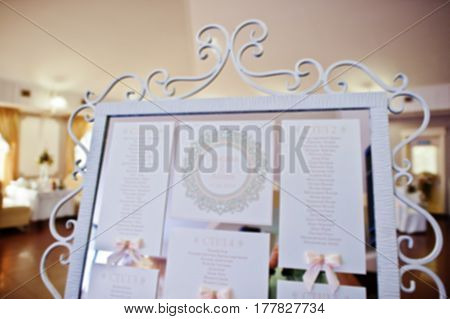Blur Photo Of Guest Wedding Board At Restaurant.