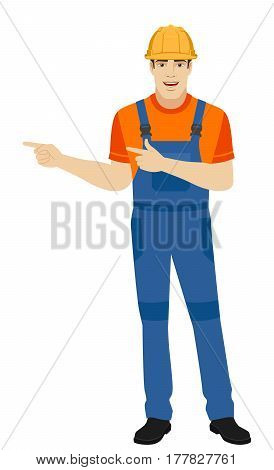 Builder howing something beside of him. Full length portrait of builder in a flat style. Vector illustration.