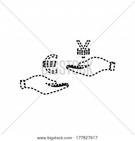 Currency exchange from hand to hand. Euro and Yen. Vector. Black dashed icon on white background. Isolated.