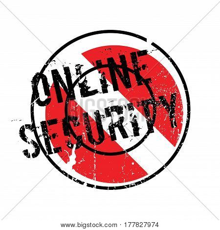 Online Security rubber stamp. Grunge design with dust scratches. Effects can be easily removed for a clean, crisp look. Color is easily changed.