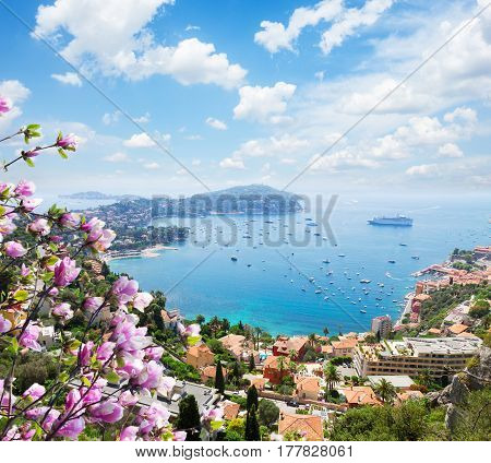 lanscape of riviera coast, turquiose water and blue sky of cote dAzur at spring day, France