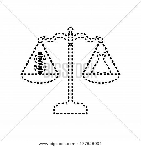 Dress and dollar symbol on scales. Vector. Black dashed icon on white background. Isolated.