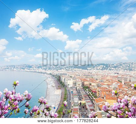 cityscape of Nice with beach and sea at spring day, cote dAzur, France