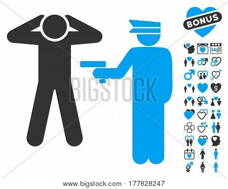 Arrest pictograph with bonus love graphic icons. Vector illustration style is flat iconic blue and gray symbols on white background.