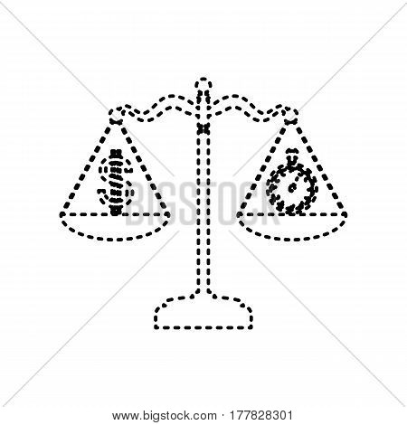 Stopwatch and dollar symbol on scales. Vector. Black dashed icon on white background. Isolated.