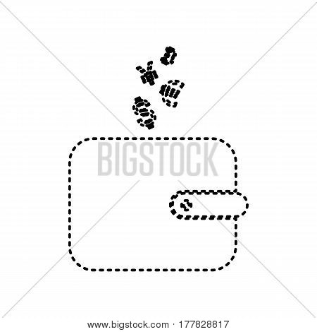 Wallet sign with currency symbols. Vector. Black dashed icon on white background. Isolated.