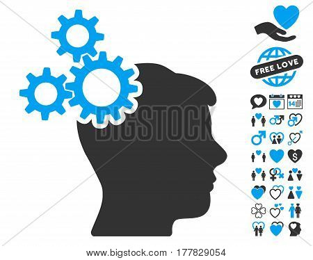 Business Idea pictograph with bonus decoration pictograms. Vector illustration style is flat iconic blue and gray symbols on white background.