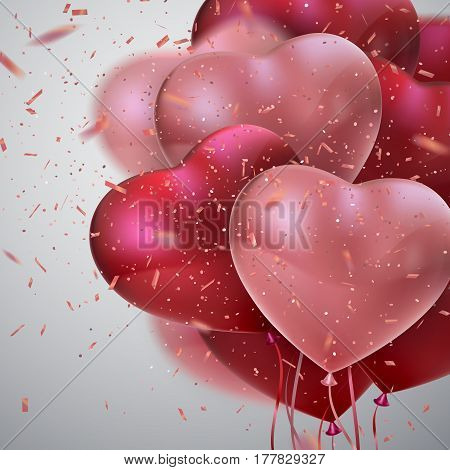 Balloon Hearts. Vector holiday illustration of flying bunch of red and pink balloon hearts and glittering confetti. Happy Valentines Day. Festive romantic decoration. Wedding concept