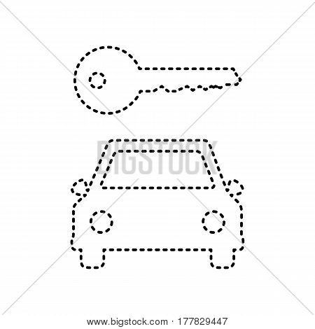 Car key simplistic sign. Vector. Black dashed icon on white background. Isolated.