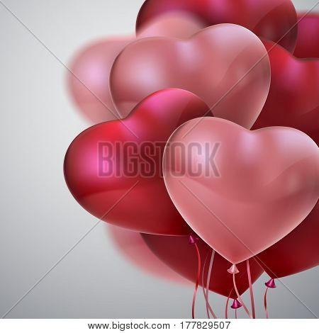 Balloon Hearts. Vector holiday illustration of flying bunch of red and pink balloon hearts. Happy Valentines Day. Festive romantic wedding decoration. Honeymoon concept