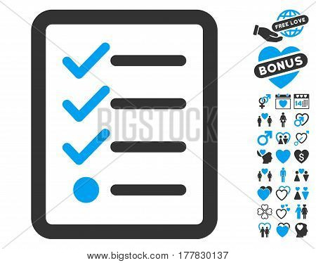 Checklist icon with bonus marriage symbols. Vector illustration style is flat iconic blue and gray symbols on white background.